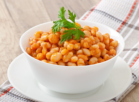 stewed: Stewed white beans in tomato sauce Stock Photo