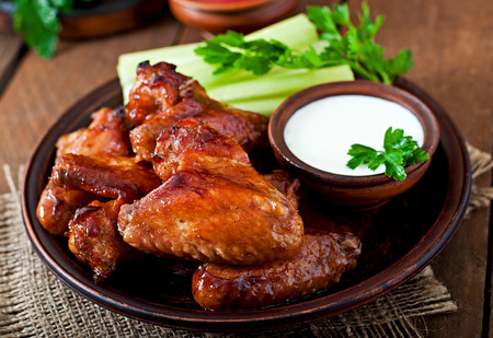 fried chicken: Baked chicken wings with teriyaki sauce