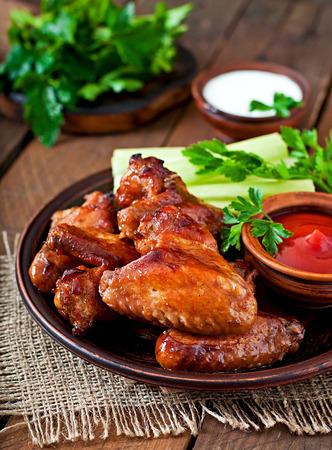 hot wings: Baked chicken wings with teriyaki sauce