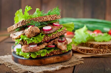 Sandwich with meat vegetables and slices of rye bread photo