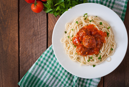 Pasta and meatballs with tomato sauce