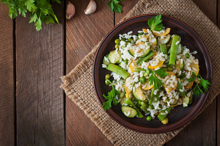 cook: Risotto with asparagus beans, zucchini and green peas