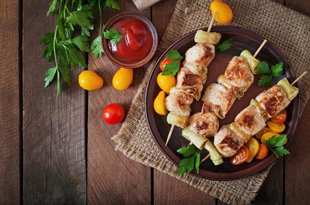 Chicken shish kebab con calabacín