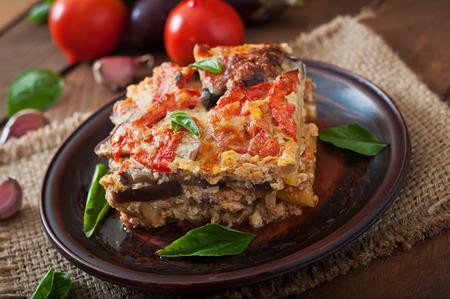 white backing: Moussaka - a traditional Greek dish