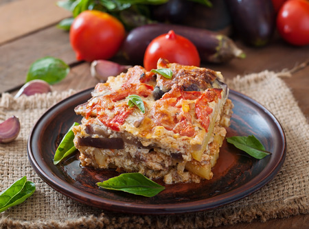 white backing: Moussaka - a traditional Greek dish