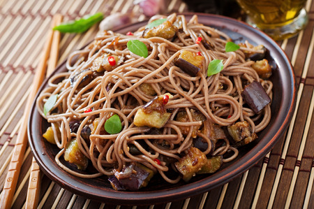 soba noodles: Soba noodles with eggplant in sweet and sour sauce
