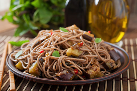 asian noodles: Soba noodles with eggplant in sweet and sour sauce