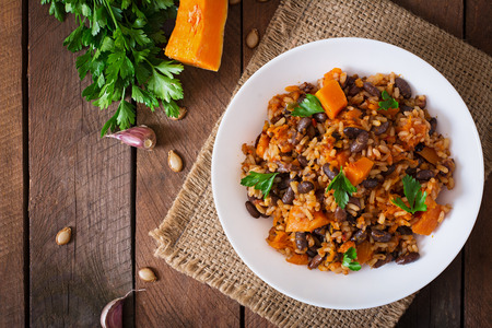 mexican black: Mexican vegan vegetable pilaf with haricot beans and pumpkin