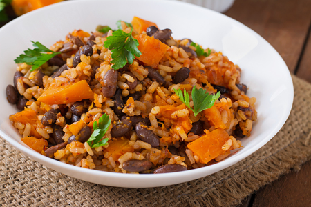 mexican: Mexican vegan vegetable pilaf with haricot beans and pumpkin