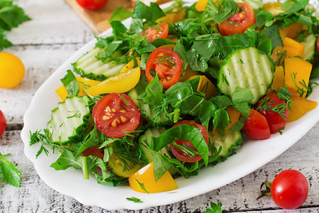 cucumber: Fresh salad of tomatoes, cucumbers, peppers, arugula and dill
