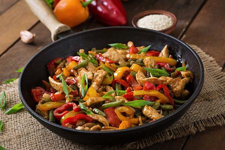 Roerbak kip, paprika en groene bonen