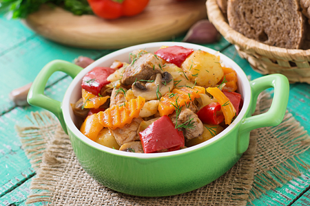 stewed: Stewed meat with vegetables. Stock Photo