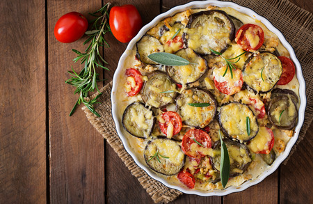 white backing: Moussaka eggplant casserole - a traditional Greek dish. Top view