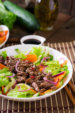 vegetable salad: Salad with beef teriyaki Stock Photo
