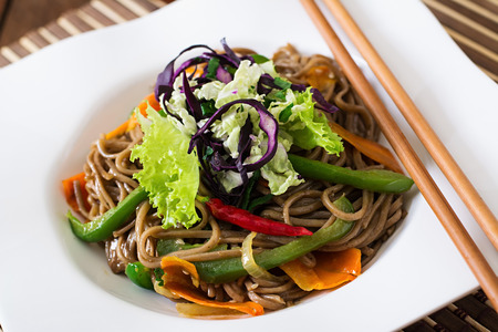 soba noodles: Soba noodles with beef, carrots, onions and sweet peppers