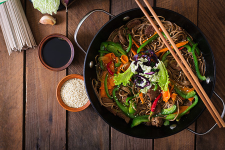 japanese background: Soba noodles with beef, carrots, onions and sweet peppers. Top view