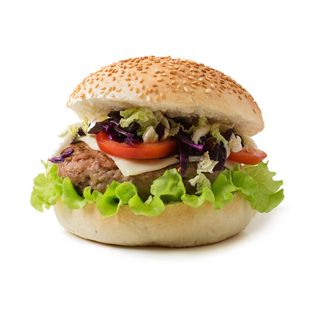the cabbage: Sandwich hamburger with juicy burgers, cheese and mix of cabbage Stock Photo