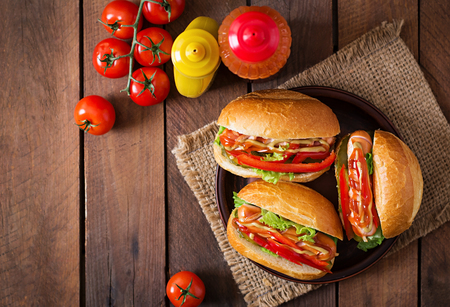 large dog: Hot dog - sandwich with pickles, paprika and lettuce on wooden background. Top view