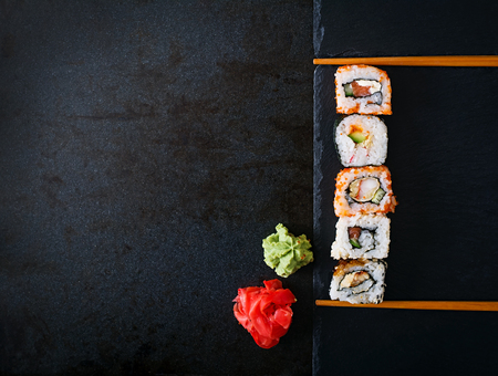 Traditional Japanese food - rolls and futomaki. Top view Stock Photo