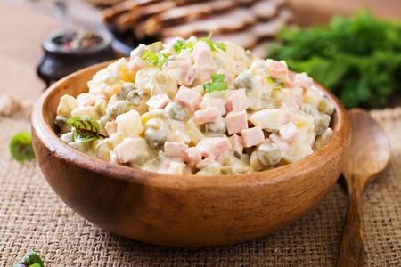 Traditional Russian salad Olivier Stock Photo