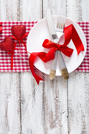 romantic dinner: Romantic table setting for Valentines day in a rustic style. Top view