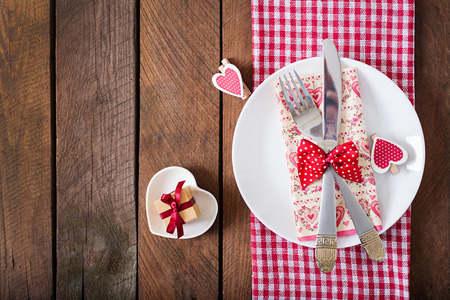 wedding love: Romantic table setting for Valentines day in a rustic style. Top view