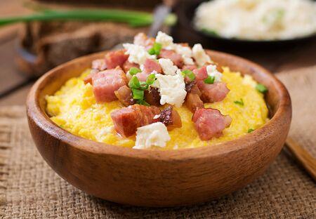 greaves: Banosh - Ukrainian Hutsul meal (maize porridge) with bacon, cracklings and cheese