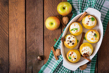 appetizing: Appetizing baked apples with cottage cheese and raisins. Top view