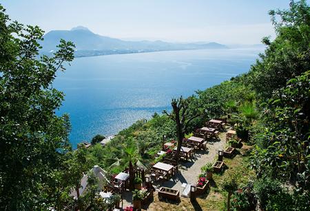 alanya: Summer outdoor cafes in Alanya, Turkey. Stock Photo