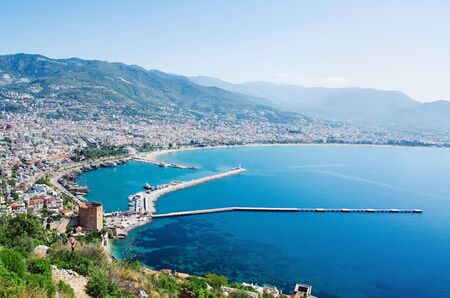 alanya: View of Alanya harbor. Turkish Riviera Stock Photo