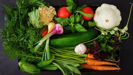 verduras verdes: Conjunto de diversas verduras frescas (zanahorias, calabacín, pepino, tomate). Nutrición apropiada. menú dietético. Vista superior