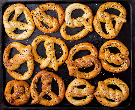 Background texture of pretzels. Top view. Oktoberfest. Stock Photo
