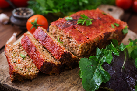 Homemade ground meatloaf with vegetables
