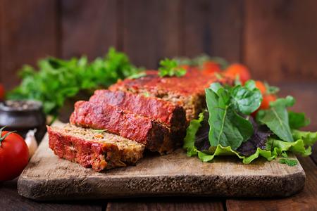 pastel de carne planta casera con verduras