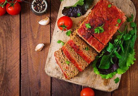 meatloaf: Homemade ground meatloaf with vegetables. Top view