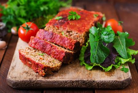 meatloaf: Homemade ground meatloaf with vegetables