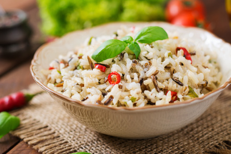 dietary: Mixed boiled rice with chilli and basil. Dietary menu. Stock Photo