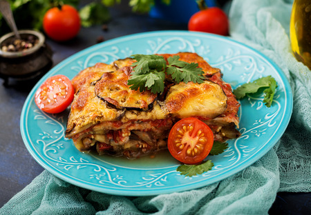 white backing: Eggplant Parmigiano (eggplant casserole) - a traditional Italian dish Stock Photo