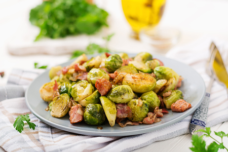 Brussels sprouts. Roasted Brussels sprouts with bacon. Delicious lunch.