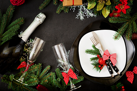 Traditional dishware on Christmas table. Flat lay. Top view