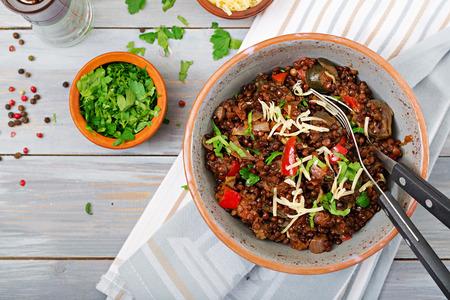 Black lentil beluga with vegetables. Lenten menu. Vegan food. Top view Zdjęcie Seryjne