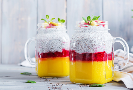 Chia seed pudding in jar with mangos. Healthy breakfast. Sweet healthy dessert.