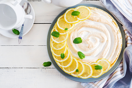 Tart with lemon curd  and meringue. Lemon  pie. American cuisine. Dessert. Top view