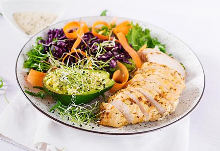 Buddha bowl schotel met kipfilet, avocado, rode kool, wortel, frisse slasalade en sesam. Detox en gezond keto dieet kom concept. overhead