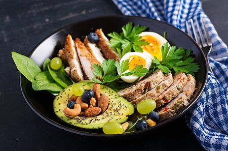 Ketogenic diet. Buddha bowl dish with meatloaf, chicken meat, avocado, berries and nuts. Detox and healthy concept. Keto food. 版權商用圖片