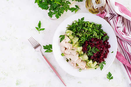 Trendy salad. Chicken boiled fillet with salad beetroot and cucumber. Healthy food, ketogenic diet, diet lunch concept. Keto / Paleo diet menu. Top view, overhead Stock fotó