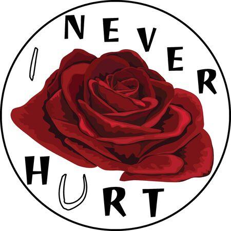 Cute deep red Rose flower arrangement. Vector floral design. Realistic hand drawing symbol of love. Watercolor designer element. Illustration for t-shirts, greeting card, invitation. I never hurt you. Stock Illustratie