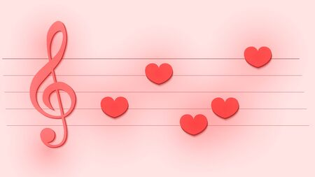 Abstract musical template with treble clef and note like a hearts for wedding card or Valentine's day banner, flyer, invitation. Paper cut and craft style on pastel background. 3d vector illustration Ilustração
