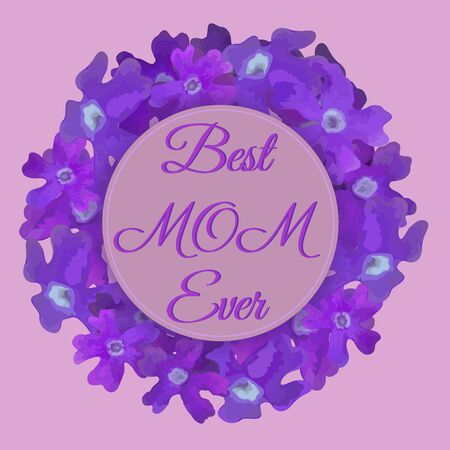 Happy mothers day floral card with awesome flowers in watercolor style. Spring card template. Element for custom wreath creation. Great for wedding invitations, valentine day, woman day, 8 march Иллюстрация