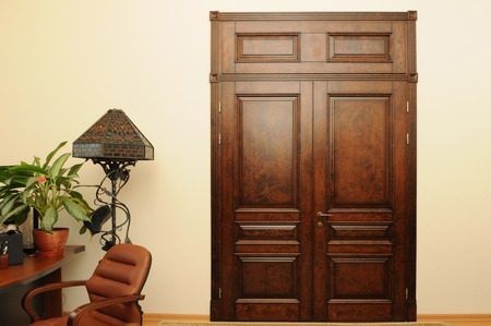 luxurious: luxurious brown wooden door and shade